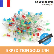 Kit 50 LED 3mm - 10x5 couleurs : blanc, bleu, jaune, rouge, vert - Arduino