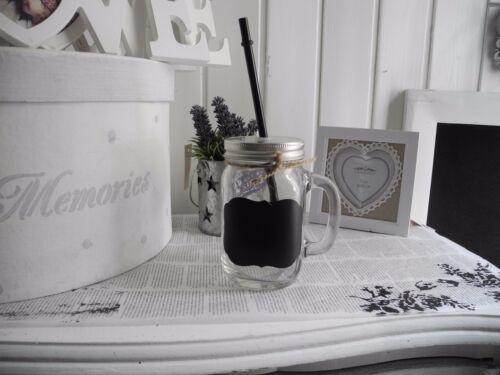Glas mit Henkel Trinkhalm Marmeladenglas Becher Nostalgie Shabby Chic Vintage