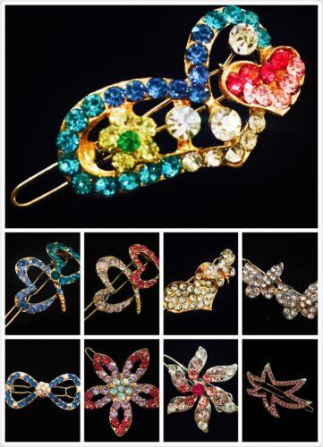 USA SELLER Hair Clip Hairpin Rhinestone Crystal Fashion Gold Vintage Clear Q3