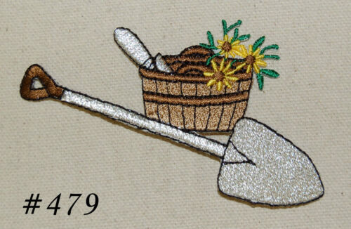 1PC~SILVER GARDENING SHOVEL~IRON ON EMBROIDERED PATCH