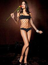 Black Diamond Net Footless Closed Crotch Body Stocking Sexy Lingerie P1557