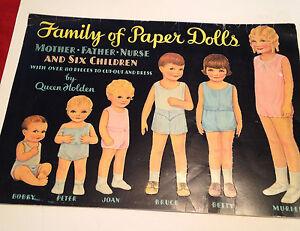 Vintage Family Of Paper Dolls Uncut By Queen Holden Merrimack 1985