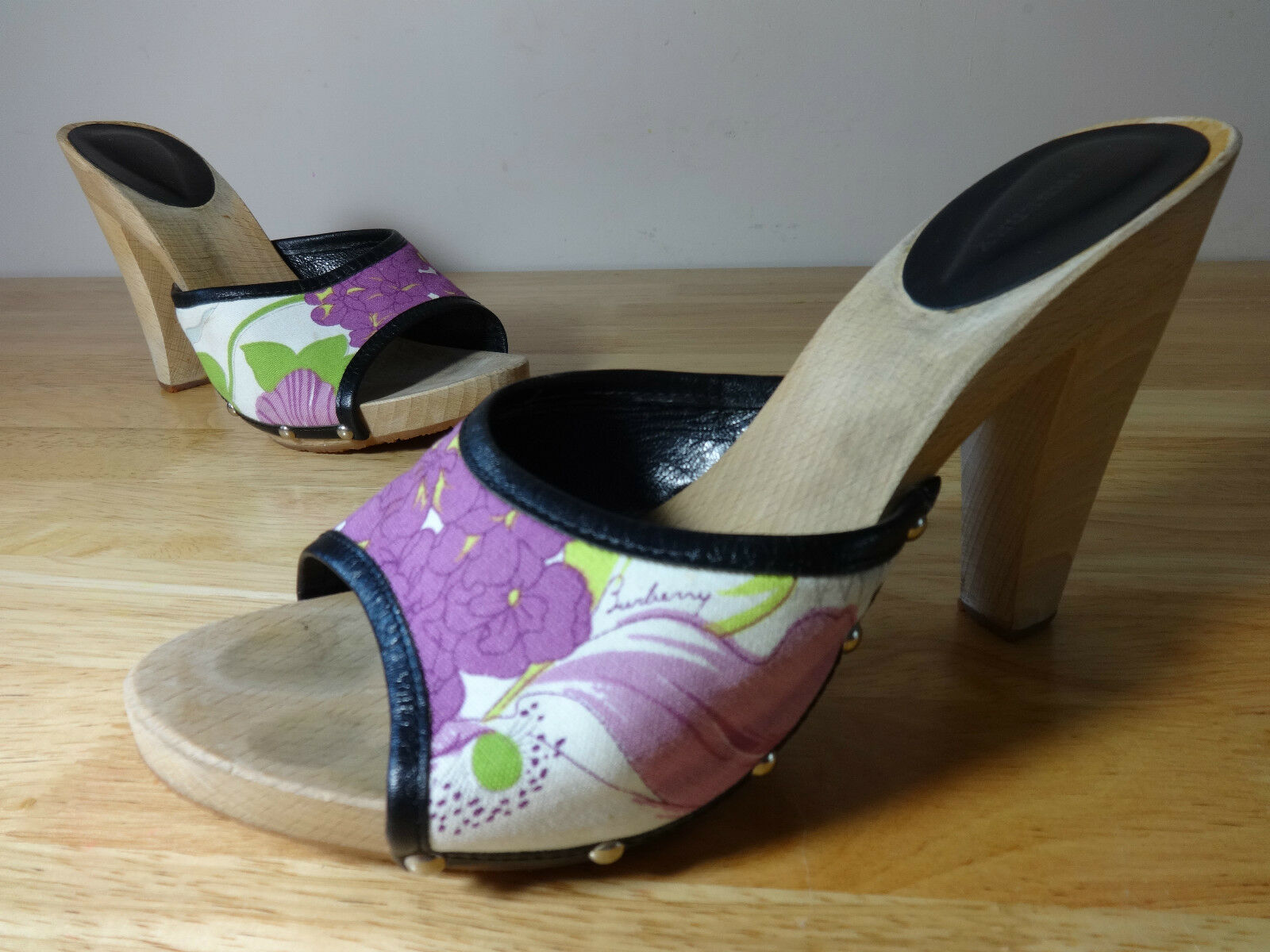 Damenschuhe Burberry schuhe Größe 6 wooden mules floral fabric studded Leder heels 6