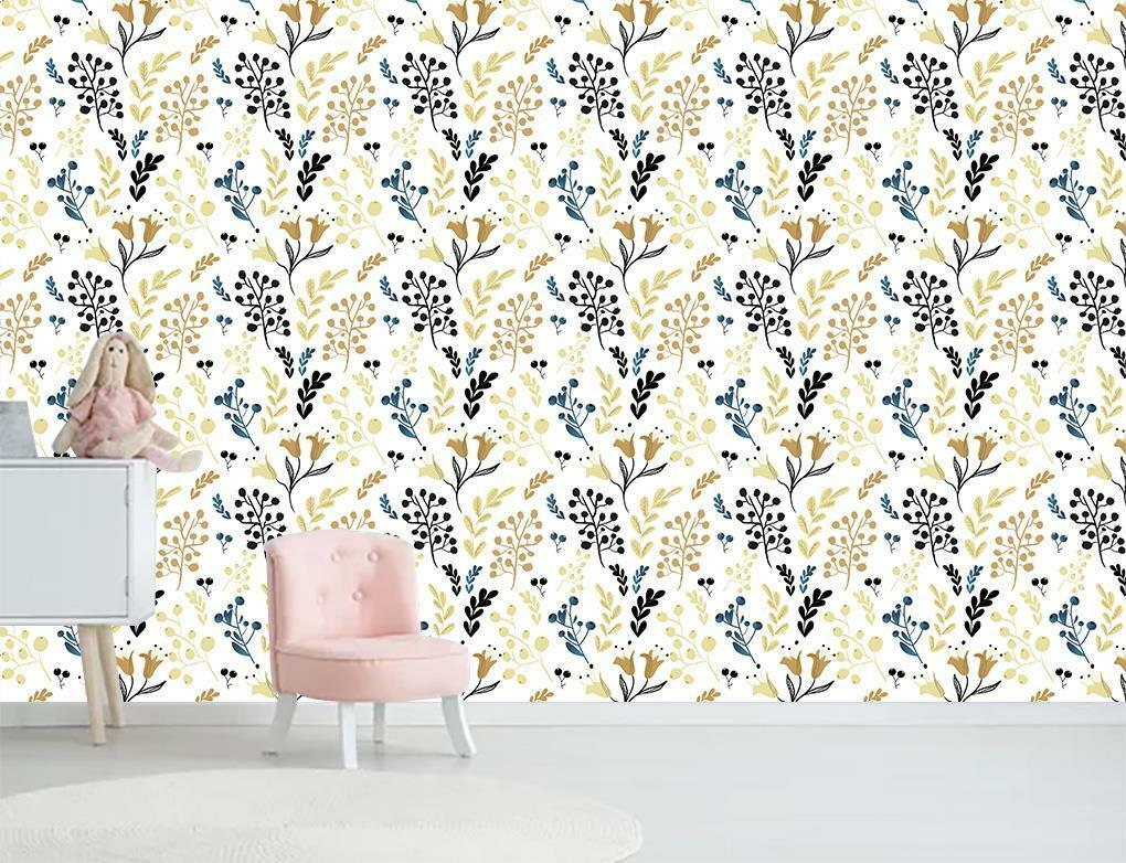 Flowers & Vines Pattern Wallpaper Wall Mural Woven Self-Adhesive Decor T113