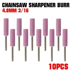 10PCS Chainsaw Sharpener Burr Grinding Stone File Chain Saw Sharpening Part US