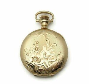 Antique-14K-Gold-Dueber-Ladies-Pocket-Watch-Case-Only-Size-3-0-13-7-Grams