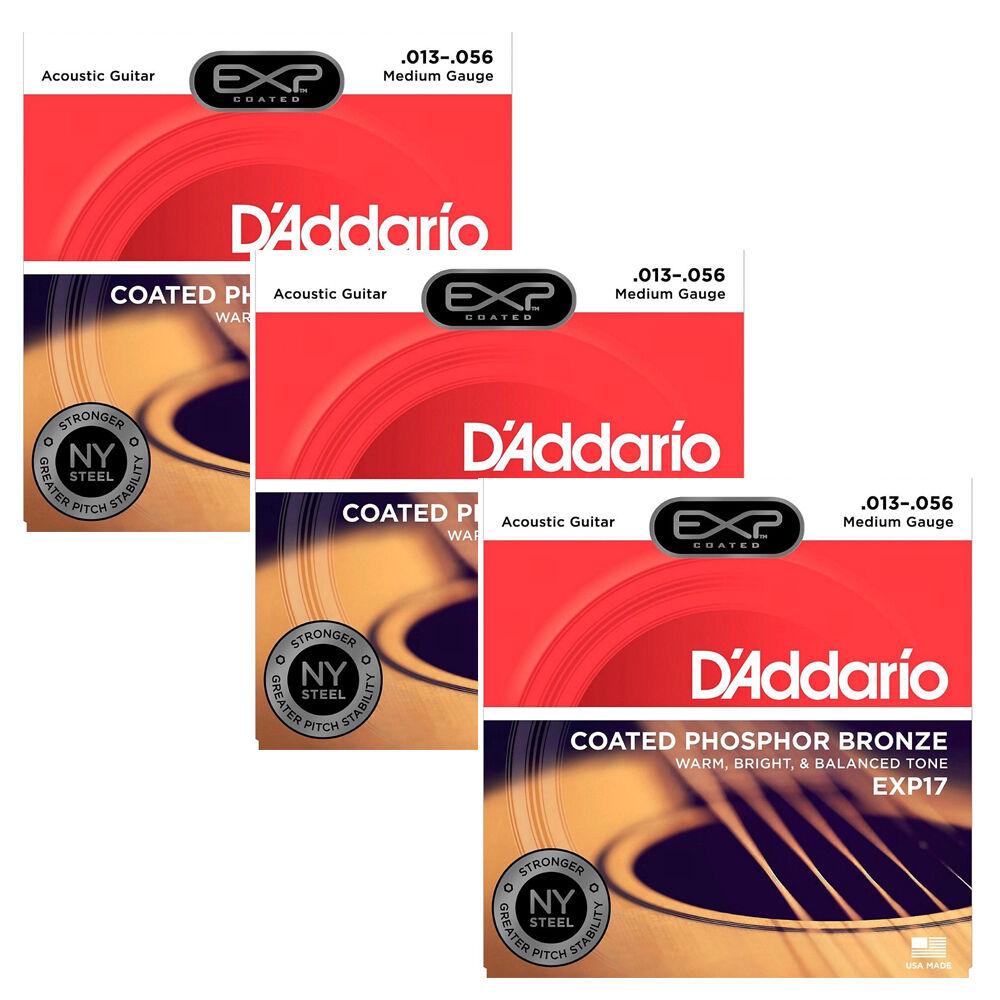 3 Juegos De D'addario exp17 exp17 exp17 Coated Phosphor Bronze Medium Guitarra Acústica Cuerdas  comprar nuevo barato