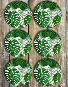Monstera-Leaf-and-Palms-Drink-Coasters-Set-of-6-Neoprene-Gift-Ideas