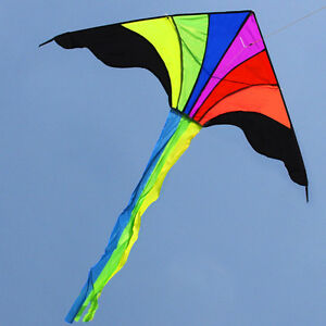 NEW-1-2m-Rainbow-Triangle-kite-Children-039-s-toys-outdoor-fun-sports-Delta-kites
