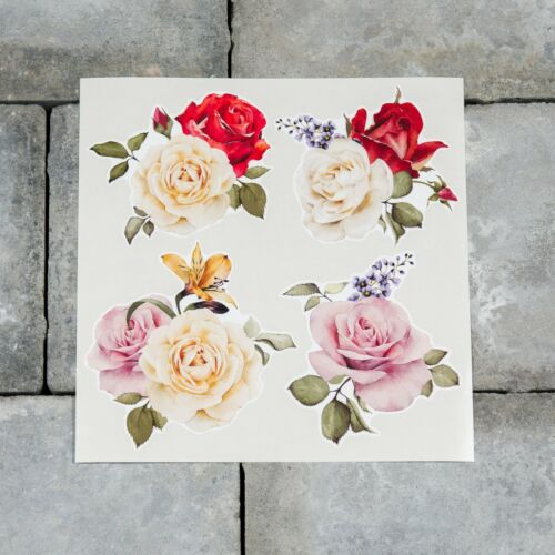 4 x Watercolour Rose Stickers Self Adhesive Vinyl Transfers Decals