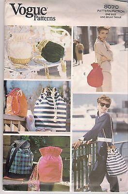 Vogue Sewing Pattern  8070, Bags x 6, Uncut