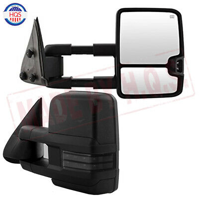 POWER+HEAT CHROME SIDE TOW MIRROR SET+SMOKE LED SIGNAL FOR 03-06 AVALANCHE//TAHOE