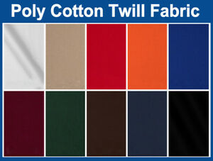 Twill-Fabric-Poly-Cotton-60-034-Wide-10-Colors-In-Stock-Sold-by-the-Yard