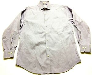 Peter-Millar-Mens-Purple-Plaid-Long-Sleeve-Front-Pocket-Shirt-Size-Large