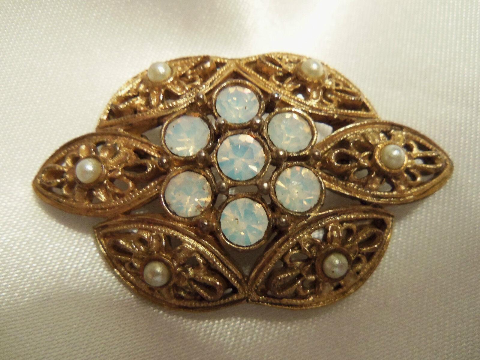 INCREDIBLE Vintage Textured ORNATE Gold Rhineston… - image 3