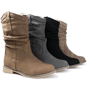 Details zu Damen Stiefel Schlupfstiefel Boots Stiefeletten gefüttert neu ST80