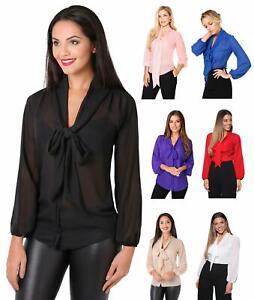 Womens-Ladies-Pussy-Bow-Blouse-Chiffon-Long-Sleeve-Top-Plain-Floral-Shirt-Office