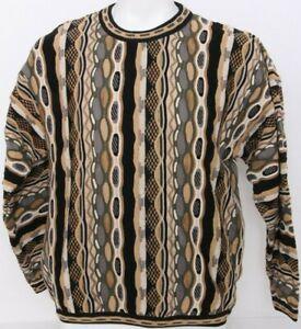 Tundra-Bachrach-Coogie-Biggie-Bill-Cosby-90-039-s-VTG-LS-Texturiert-Strick-Pullover-Herren-L