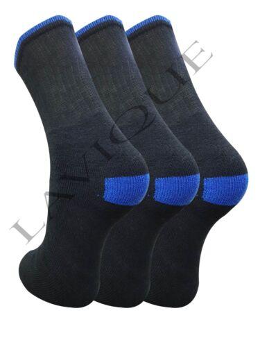 6//12 paia Uomo Cotone Rich Sport Calzini nero tacco e punta aperta UK 6-11 blu