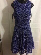 NEW XSCAPE BRIGHT Embroidered Lace Fit & Flare Dress BLUE  SIZE 12  $209