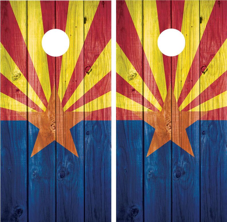 Arizona Flag Distressed Wood Vintage Cornhole Board Decal Wrap Wraps