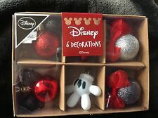 6 Disney mini Mickey Mouse Christmas baubles tree decorations brand new boxed