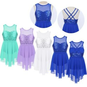 Girls-Lyrical-Sequins-Ballet-Dance-Dress-Leotard-Bodysuit-Kids-Dancewear-Costume