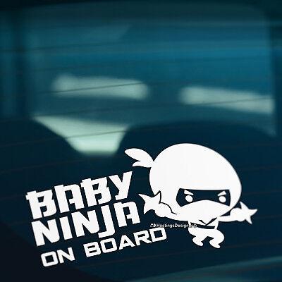 BABY NINJA ON BOARD Sticker Motorcycle Car Vinyl Laptop Window Wall Art Decal