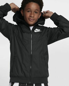 44803fb61 Image is loading Boys-Nike-Sportswear-Windrunner-850443-011-Black-White-