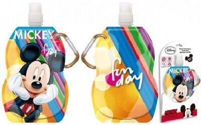 Disney MINNIE Mouse Kinder-Faltbare-Trinkflasche-400ml-Karabiner-Haken-Beutel