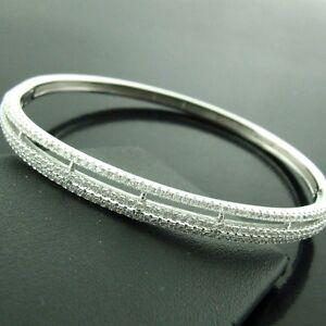 BANGLE-BRACELET-GENUINE-REAL-925-SOLID-STERLING-SILVER-DIAMOND-SIMULATED-DESIGN
