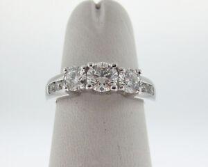 Genuine-Diamonds-VS-H-1-00ct-Solid-Platinum-PT950-3-Stones-Ring-Fine-Jewelry
