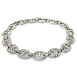 Stylish-4-66-TCW-Round-Cut-Diamonds-Chain-Bracelet-In-Solid-14k-White-Gold