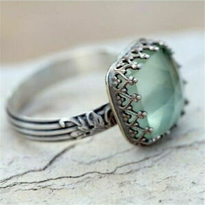 Women-Jewelry-925-Silver-Gemstone-Vintage-Peridot-Moonstone-Wedding-Ring-Sz-6-10