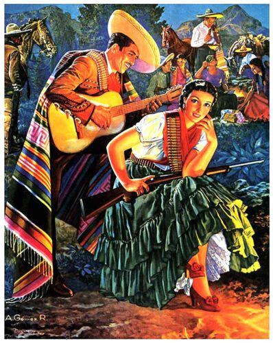 US Seller Mexican Calendar Art Cinco de Mayo 1949 poster office wall art decor