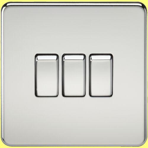 les commutateurs etc gamme complète inserts noir Sans Vis Chrome Poli 13A Sockets