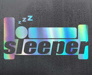 SLEEPER-BED-Chrome-holographic-vinyl-sticker-car-decal-JDM-DUB-bumper-funny