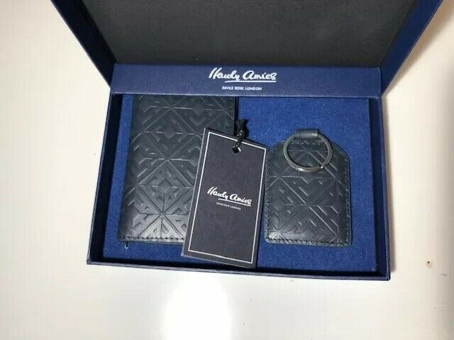 Hardy Amies Navy Leather Credit Card Holder And Keyring ! New!Only