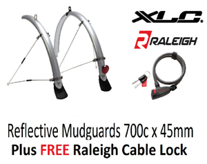 LOCK XLC Reflective Mudguards 700c x 45mm Silver With 3M Reflective Strips