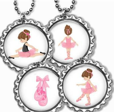 Ballerina African American Girl Dance Ballet Bottle Cap Necklace Handcrafted