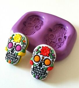 SUGAR-SKULL-Silicone-Mould-25-mm-Cake-Decorating-Fimo-Sugarpaste-Polymer-Clay