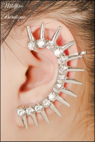 Curved Arc of Spikes /& Crystals Earrings Ear Climber Cuff in Shiny Silver /& Gold