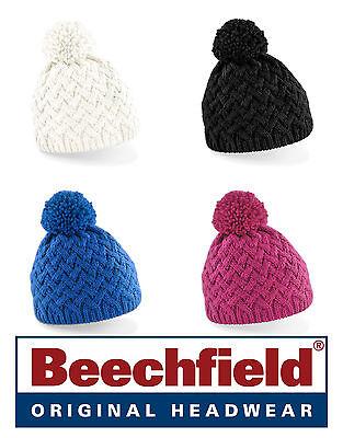 Colto Cappello Beechfield Cuffia Vermont Beanie Acrilico Morbido In 4 Colori Pom Pom # Modellazione Duratura
