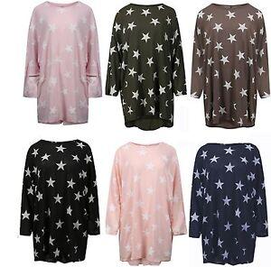Women/'s Ladies Star Print Loose Fit Batwing Baggy Hi Lo Long Knitted Jumper Top