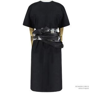Dries-Van-Noten-Black-Floral-Sash-Waist-Knee-Length-Sheath-Dress-FR38-UK10