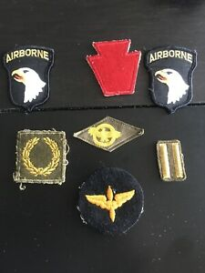 LOT-OF-7-VINTAGE-US-ARMY-MILITARY-PATCHES-WORLD-WAR-2-WWII-WW2-AIRBORNE
