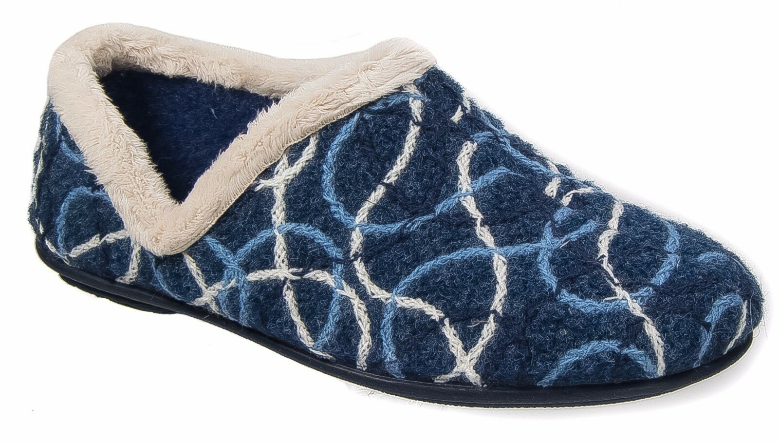 Womens Ladies Slip On Slippers / Padded Patterned Blue Knitted Sleepers 3 to 8