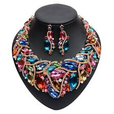 Bold Huge Fierce Multi Color Rhinestone Bib Necklace Earrings Set Drag Queen
