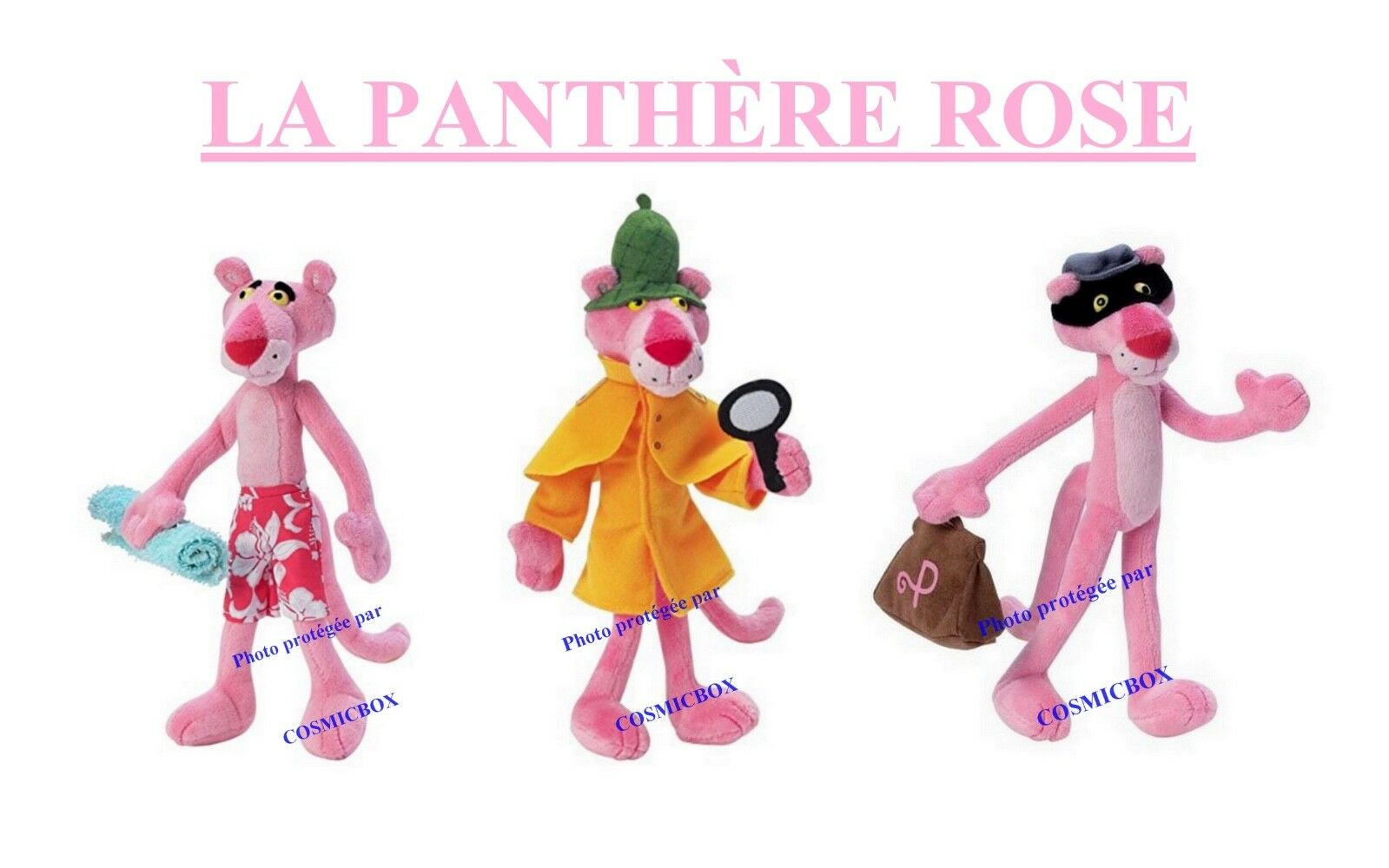 Lot 3 peluches La PANTHERE ROSE jemini 24cm prize of Rosa PANTHER plush figures