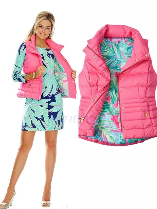 198.00 NWT Lilly Pulitzer Isabella Down Vest Flamingo Pin XXS NEW FIRST QUALITY